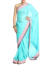 Sky Blue Saree With Pink And Silver Border - Saraswati