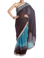 Black And Blue Polka-dot Saree - Saraswati