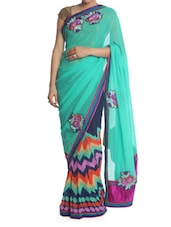 Green And Blue Printed Saree - Saraswati