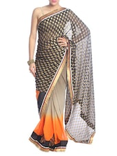 Orange And Black Shaded Saree - Saraswati