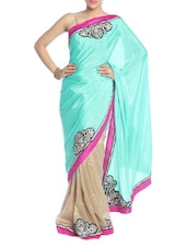 Mint Green And Beige Saree - Saraswati