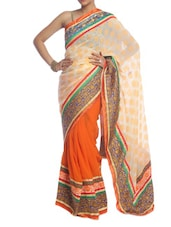 Cream And Orange Art Silk Saree - Saraswati