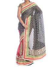 Luxe Black And Red Bridal Saree - Saraswati