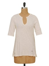 Solid Cream Top With Crochet Back - Ozel Studio