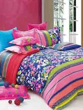 Blue And Pink Floral Double Bedsheet With Pillow Cover - Bianca