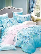 Blue And White Double Bedsheet With Pillow Cover - Bianca