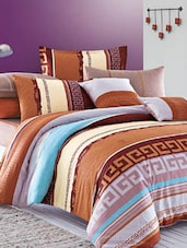 Rust Brown, Blue Double Bedsheet With Pillow Cover - Bianca