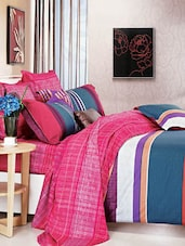 Pink And Blue Double Bedsheet With Pillow Cover - Bianca