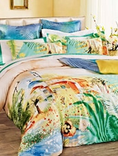 Multicoloured Floral Double Bedsheet With Pillow Cover - Bianca