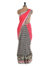 Monochrome Printed Saree With Pink Saree - Istyledeals