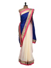 Cream And Royal Blue Saree - Istyledeals