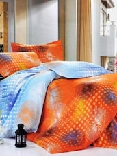 Orange And Blue Double Bedsheet With Two Pillow Cover -  Frábær