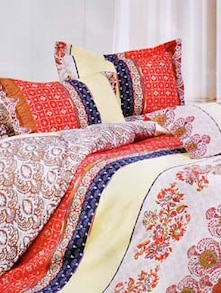 Multi-coloured Double Bedsheet With Two Pillow Cover -  Frábær - 937621