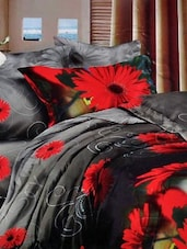 Black, Red And Grey Double Bedsheet With Two Pillow Cover -  Frábær