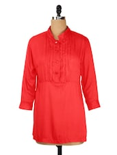 Solid Red Tunic With Sleeves - KAXIAA