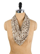 White And Brown Tiger Print Stole -  online shopping for shawls