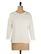 Solid Off-white Top With Lacy Shoulder - KAXIAA