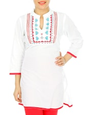 Solid White Kurta With Front Embroidery - Anubha