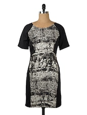 Black And Grey Half Sleeved Dress - Queens