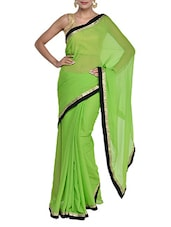Bright Green Georgette Saree - Purple Oyster