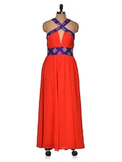 Bright Red Evening Gown With Cross-over Neck - BOLLYDIVA