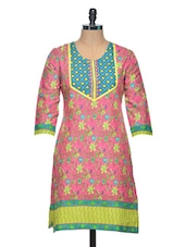 Pink Floral Printed Cotton Kurta - Saving Tree