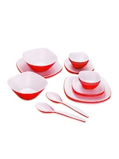 Red Food Grade Plastic   Sizzle Dinner Set  Set Of  22 - Cello