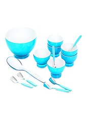 Blue Food Grade Plastic   Ice Cream & Dessert Serving Set  Set Of  14 - Cello