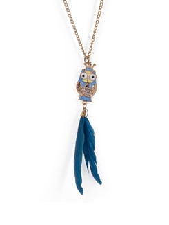 Owl Feather Pendant Necklace - Tribal Zone