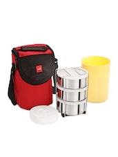 Red  Stainless Steel Body And Insulated  Lunch Packs - By