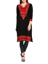 Black And Red Embroidered Woollen Kurti - REBECCA