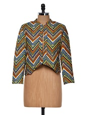 Multi-colored Zig Zag Patterned Printed Jacket - Muah