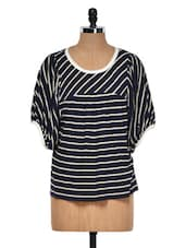 Blue And White Striped Top - Muah