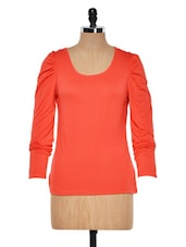 Red Round Neck Full Sleeved Top - Muah