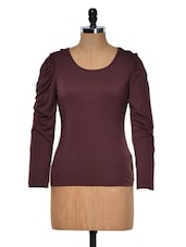 Brown Round Neck Full Sleeved Top - Muah