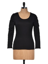 Black Round Neck Full Sleeved Top - Muah