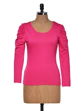 Pink Round Neck Full Sleeved Top - Muah