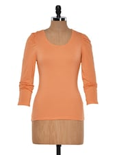 Peach Round Neck Full Sleeved Top - Muah