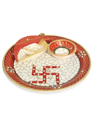 MARBLE AARTI THALI WITH SWASTIK  PAINTED