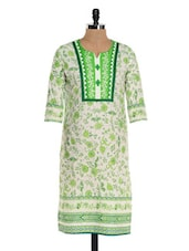 White And Green Floral Print Kurta - NAVRITI