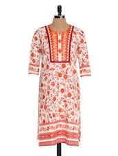 White And Orange Floral Print Kurta - NAVRITI