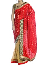 Red And Cream Paisley Saree - Suchi Fashion