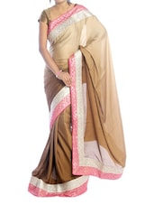 Shaded Brown Saree With Pink Border - Suchi Fashion