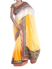 Yellow Shaded Saree With Gold Border - Suchi Fashion