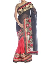 Black And Red Floral Saree - Suchi Fashion