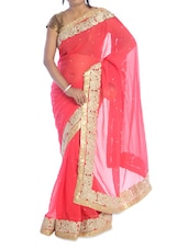 Coral Saree With Gold Border - Suchi Fashion