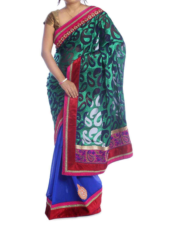 Green And Blue Paisley Saree - Suchi Fashion