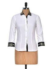 White Shirt With Metal Detail - DAZZIO