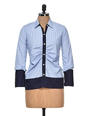 Blue Striped Shirt With Contrast Cuffs - DAZZIO
