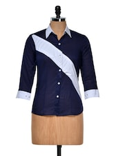 Chic Navy Shirt With Contrast Panel - DAZZIO